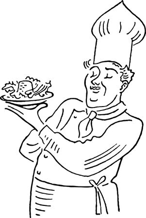 A chef holding a salad