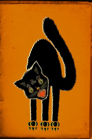 arched: A cat with an arched back