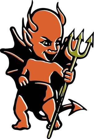 pitchfork: A devil with a pitchfork