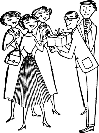 A man giving a present to a woman while friends look on