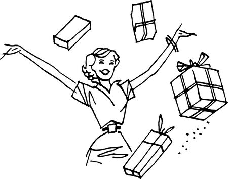 woman arms up: A woman with her arms up surrounded by presents