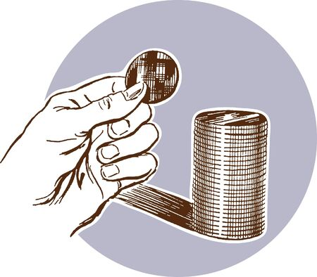 A hand holding a coin with a stack of coins behind photo