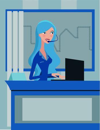 헤드셋을 착용하고있는 동안 그녀의 노트북에서 일하는 여자 스톡 콘텐츠