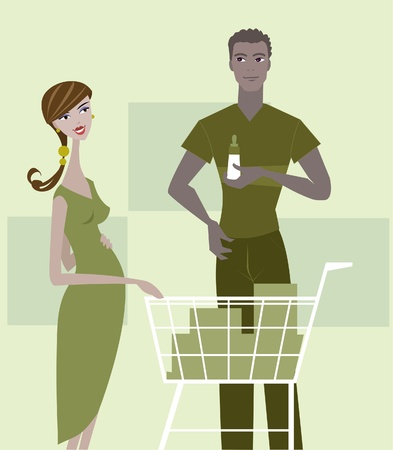 A pregnant woman and man shopping for baby items photo