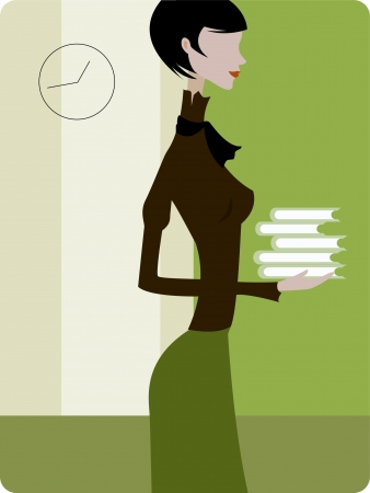 digitally generated image: Profile of a woman holding a stack of books Stock Photo