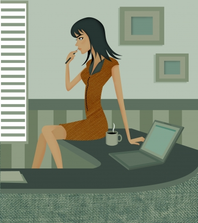 woman side view: Side view of a woman biting pen while sitting on desk beside a coffee mug and laptop Stock Photo