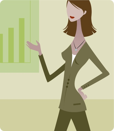 A woman pointing to a graph while making a business presentation