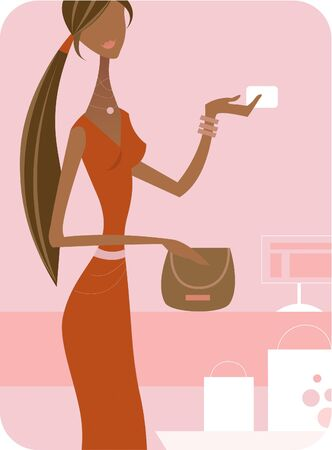A woman in orange dress making a purchase with a credit card