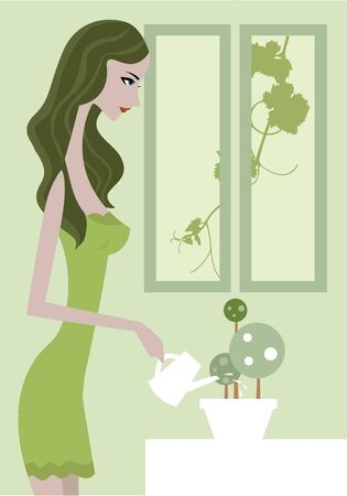 plant stand: Side view of a woman in green dress watering a plant