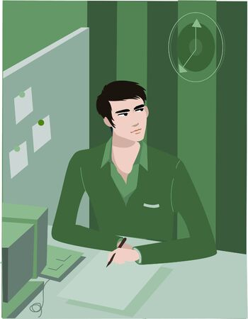 office cubicle: Man working in cubicle; checking time on wall clock