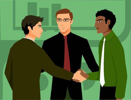 socializando: Dos hombres que sacuden las manos, ser presentado por un tercero Foto de archivo