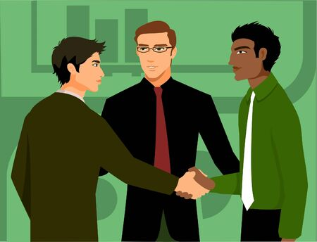introduced: Two men shaking hands; being introduced by a third man