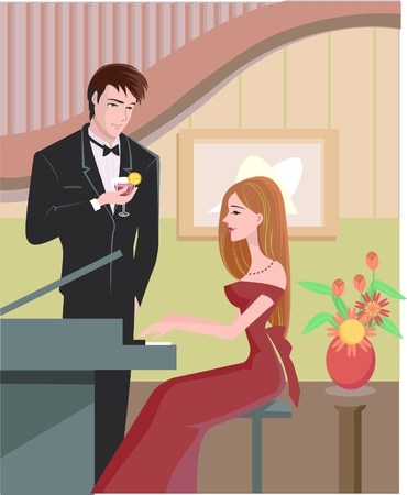 side viewing: A woman in evening gown playing the piano; while a man in tuxedo is holding a drink and watching her play Stock Photo