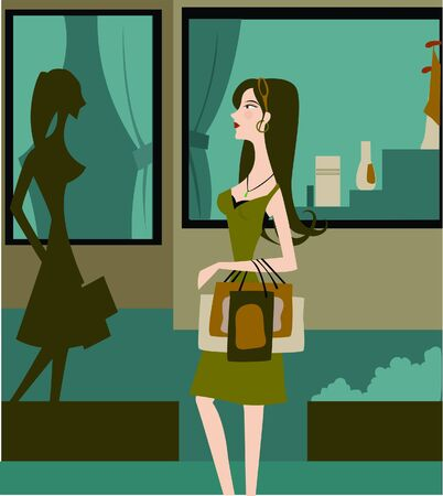 window display: Side view of woman holding shopping bags and looking at window display of a store Stock Photo