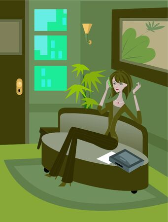 woman on phone: A woman talking on phone while sitting on couch; full-length Stock Photo