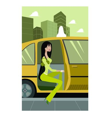 Side view of a woman getting out of a taxi cab; full-length