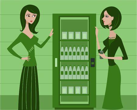 refrigerator: Two women standing beside a refrigerator