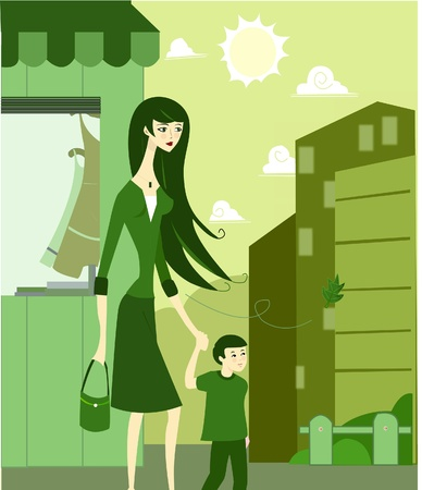 citylife: A woman holding her sons hand as they walk on the street
