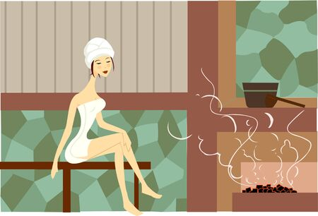 steam bath: A woman wrapped in towel sitting in sauna; full-length