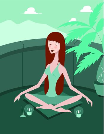 Front view of a woman meditating outdoors with candles lit; full-length