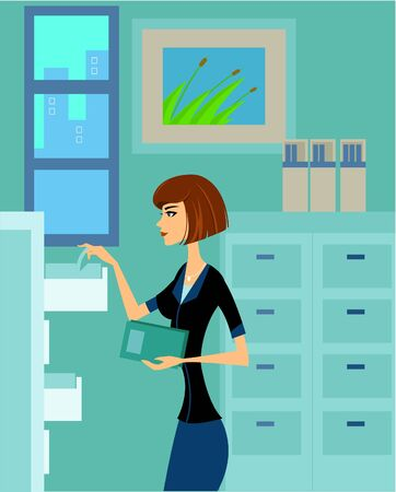 Side view of a woman arranging files in the office cabinet