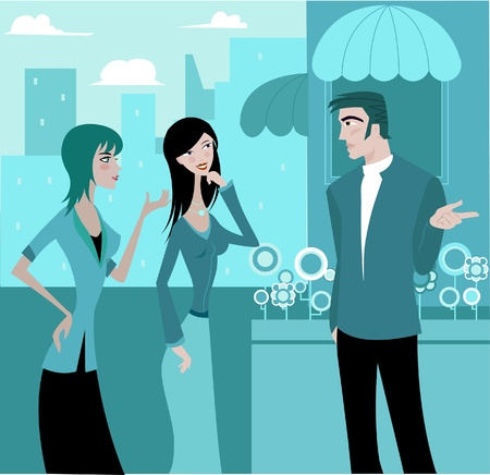 citylife: Two women talking to a man outdoors