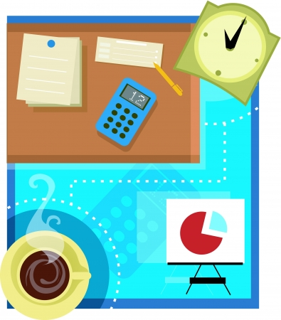 overtime: Collage of an office scene with stationery; coffee; pie chart and clock
