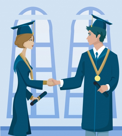 Two students in graduation cap and gown holding diplomas and shaking hands Foto de archivo