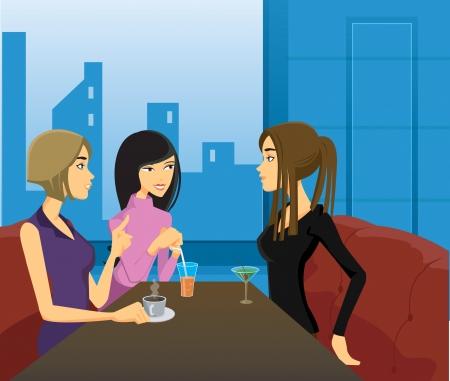 cartoons: Drei Frauen Geselligkeit bei einem Drink in einem Restaurant