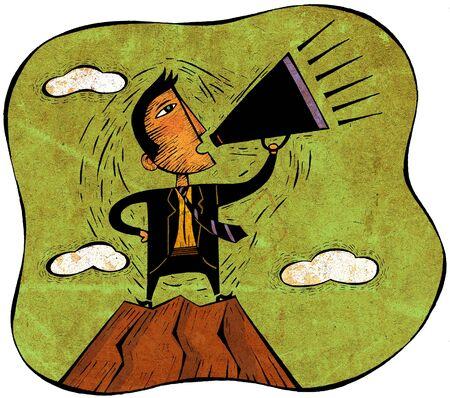 man yelling: Businessman standing on peak of mountain yelling through a megaphone
