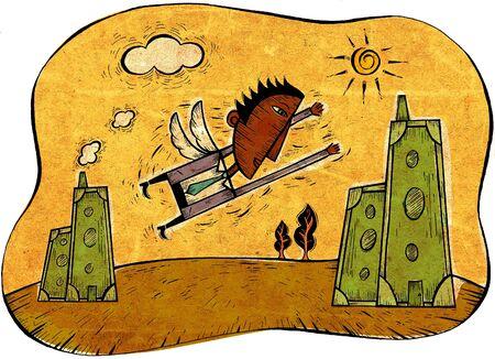 지폐로 만든 건물 향해 비행 날개를 가진 사업가 스톡 콘텐츠