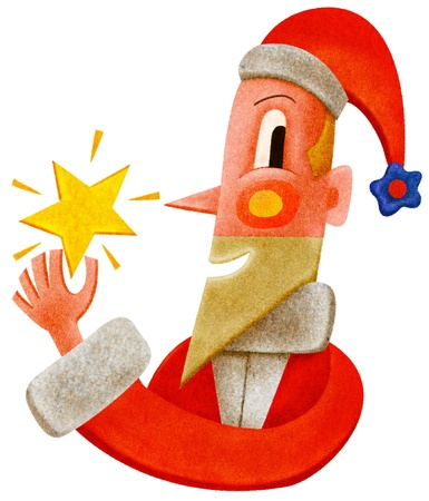 Santa Claus holding a star Stock Photo - 15209418