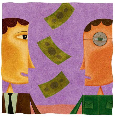 homme inquiet: L'argent tombe entre un homme d'affaires heureux et un homme inquiet Banque d'images