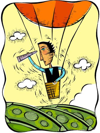 oversee: Illustration of a man looking through a telescope from a hot air balloon