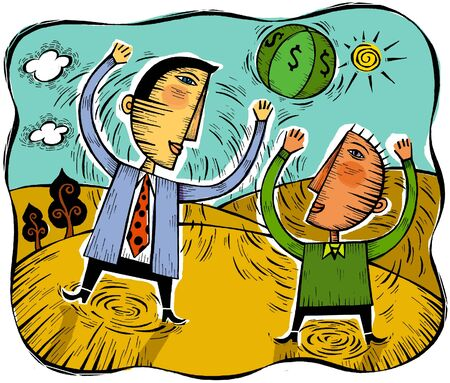 Illustration of two men playing with a ball that has money symbols on it Stock Illustration - 15209426