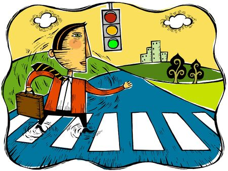 Illustration of a businessman crossing the street