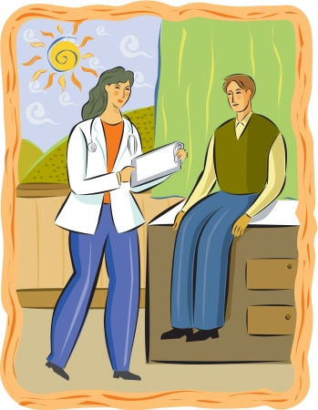 A female doctor talking to a male patient