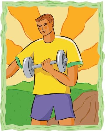 imagezoo: Drawing of a man lifting weights