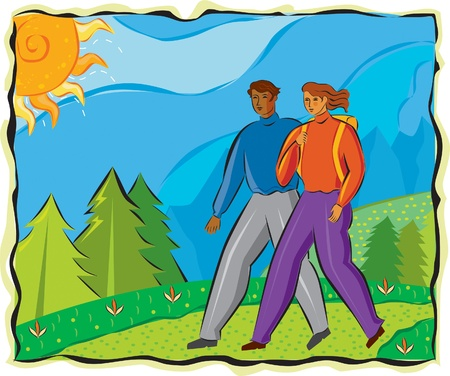 An illustration of a man and a woman hiking illustration