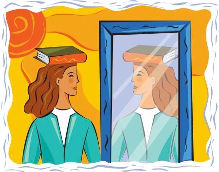 buena postura: Mujer que practica una buena postura frente a un espejo Foto de archivo