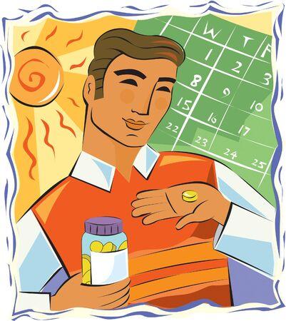 imagezoo: Man taking daily vitamins for his health Stock Photo
