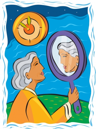 reflection of life: Senior woman looking at herself in a hand mirror
