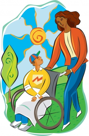 woman pushing a child in a wheelchair Stock Photo - 15209319