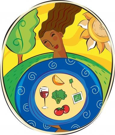 free radicals: A woman holding natural antioxidants