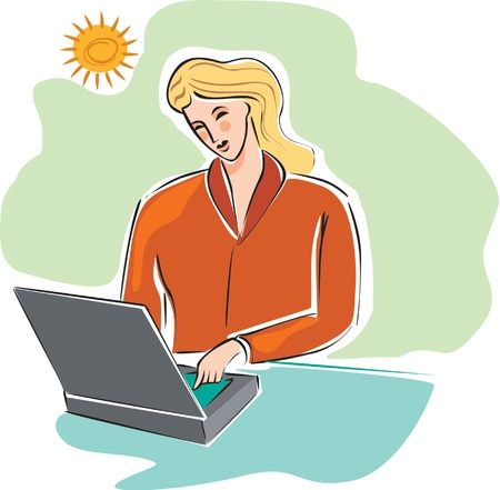 businesswoman at her laptop Stock Photo