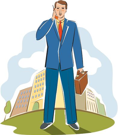 travelling salesman: businessman talking on his cell phone