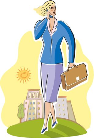 travelling salesman: businesswoman talking on her cell phone