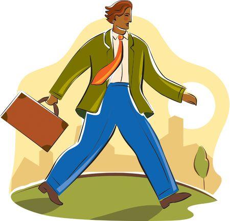 imagezoo: businessman walking briskly Stock Photo
