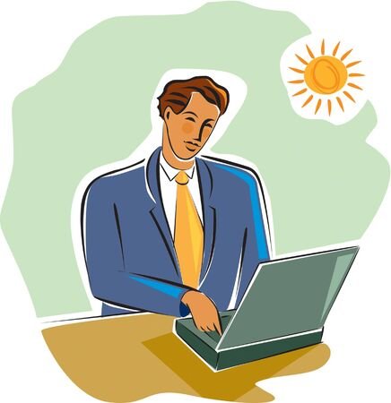 techie: businessman working at his laptop