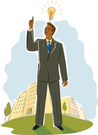 businessman having a bright idea Stock Photo - 15208563